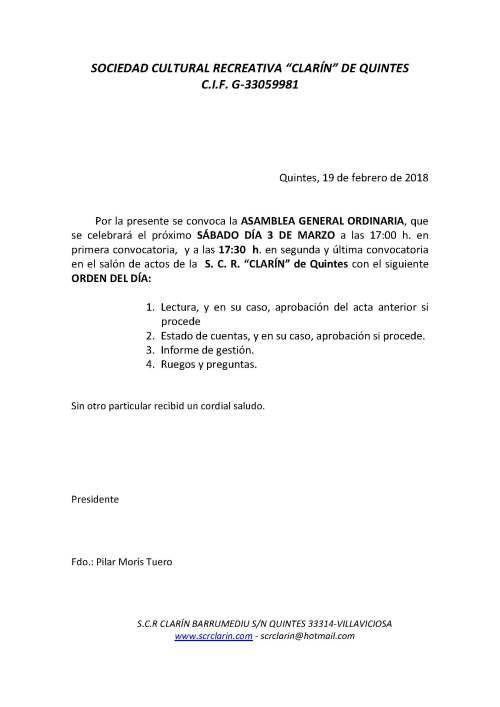 CONVOCATORIA ASAMBLEA GENERAL ORDINARIA 3 de marzo de 2018